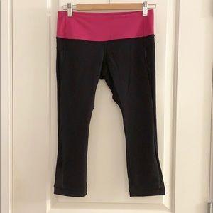 Lululemon Black & Pink Cropped Leggings